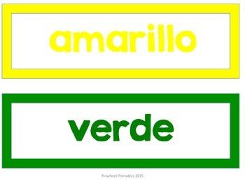 Spanish Color Word Labels- {Los Colores}