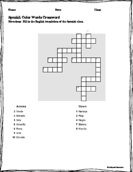 Spanish Color Words Fun Worksheets