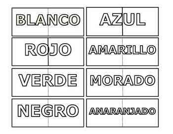 Spanish Color Words Match-ups Puzzle