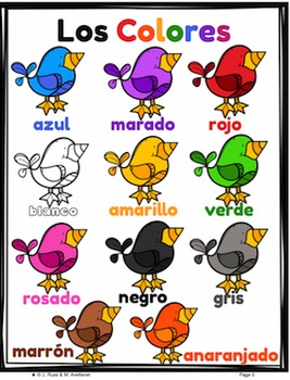 Spanish Color Words Task Cards Center