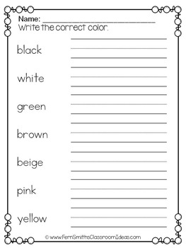 Spanish Color Words Pocket Chart Cards and Worksheets Español Black