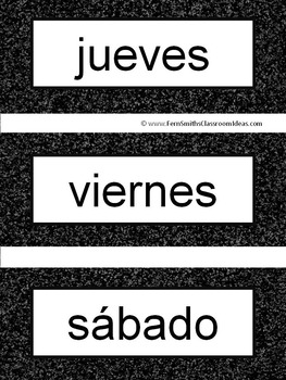 Spanish Days of the Week Pocket Chart Cards and Worksheets Español Black