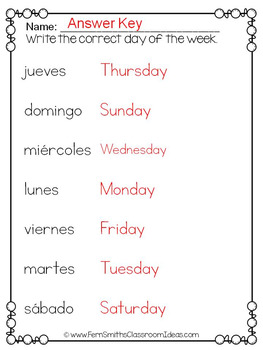 spanish days of the week pocket chart cards and worksheets espa ol black. Black Bedroom Furniture Sets. Home Design Ideas