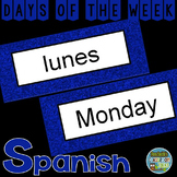 Spanish Days of the Week Pocket Chart Cards and Worksheets Español Blue