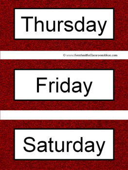 Spanish Days of the Week Pocket Chart Cards and Worksheets Español Garnet