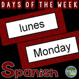 Spanish Days of the Week Pocket Chart Cards and Worksheets Español Garnet
