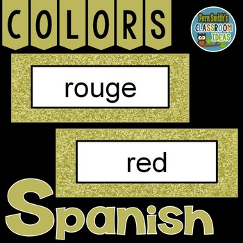 Spanish Color Words Pocket Chart Cards and Worksheets Español Gold