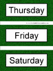 Spanish Days of the Week Pocket Chart Cards and Worksheets Español Green