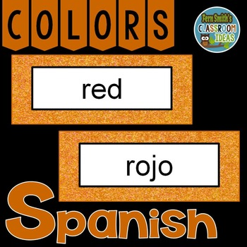 Spanish Color Words Pocket Chart Cards and Worksheets Español Orange