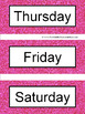 Spanish Days of the Week Pocket Chart Cards and Worksheets Español Pink