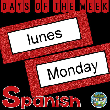 Spanish Days of the Week Pocket Chart Cards and Worksheets Español Red