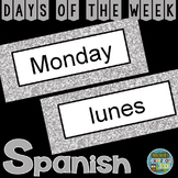 Spanish Days of the Week Pocket Chart Cards and Worksheets Español Silver