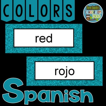 Spanish Color Words Pocket Chart Cards and Worksheets Español Teal
