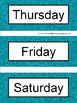 Spanish Days of the Week Pocket Chart Cards and Worksheets Español Teal