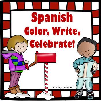 Spanish Color, Write, Celebrate!  Christmas Themed Freebie