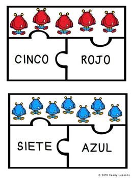 Spanish Sight Words Puzzles for Spanish Numbers 1-10 and Spanish Colors