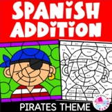 Spanish Color by Number Addition Facts Pirate Set