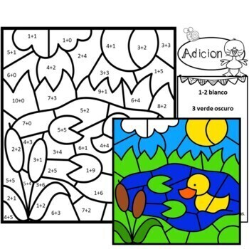 Spanish Color by Number Addition Facts Spring Summer Pond Set