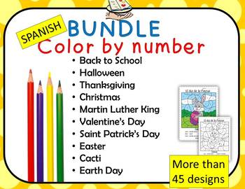 Spanish Color by Number BUNDLE