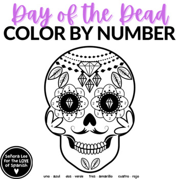 Spanish Day of the Dead Dia de Los Muertos: Color by Number Sugar Skull