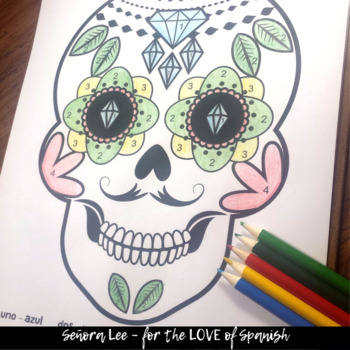 Spanish Color by Number - Day of the Dead Calavera