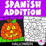 Spanish Color by Number Halloween Addition Math Coloring Pages Bundle