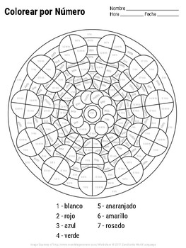 Spanish Color by Number Mandala Coloring Pages