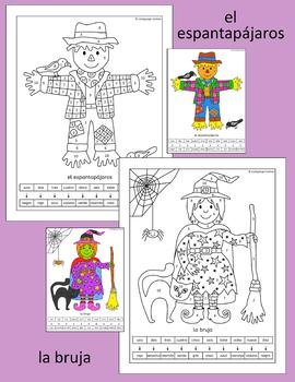 Spanish Color by Number People Pictures - clown, witch, pirate and more