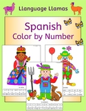 Spanish Color by Number People Pictures - clown, witch, pi