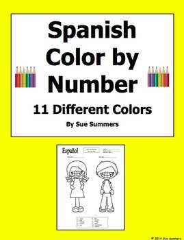 Spanish Color by Numbers Kids With 11 Different Colors