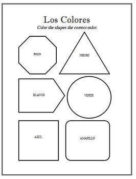 spanish color the shapes activity worksheet by brittany baxter. Black Bedroom Furniture Sets. Home Design Ideas