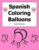 Spanish Coloring Balloons Worksheet - Globos y Los Colores