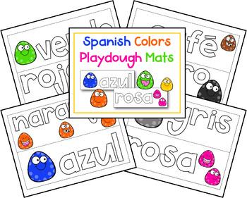 Spanish Colors Activities: Spanish Color Word Playdough Mats!
