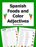 Spanish Foods with Colors Adjectives Worksheet