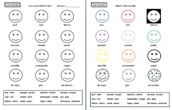 Spanish Colors Activity Worksheet - Los Colores