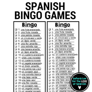 Spanish Colors Bingo Los Colores