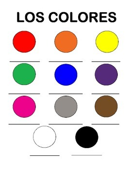 Spanish Colors - Chart and Activities