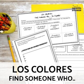 Spanish Colors- Classroom Sign and Notes/Coloring Sheet fo