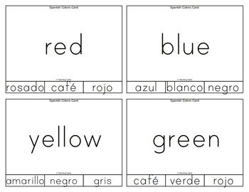 Spanish Colors Clip Task Cards