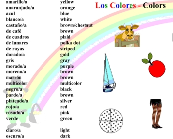 Spanish Colors Colores Smart Board Vocabulary Games And