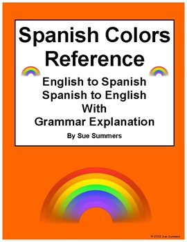 Spanish Colors / Colores Vocabulary List and Grammar Explanation