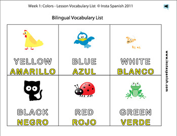 Spanish Colors, Colorful Lesson with Activities