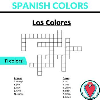 Spanish Colors Crossword Puzzle: Los Colores | TpT