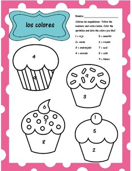 Spanish Colors - Cupcake Coloring Activity