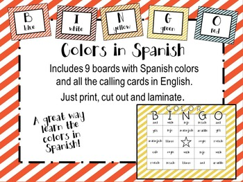 Spanish Colors Bingo Game