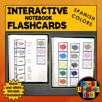 Spanish Colors Flashcards, Interactive Notebook Activities, Los Colores