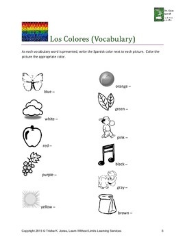 Spanish Colors Lesson Plan, PowerPoint, & Activities