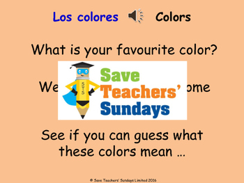 Spanish Colors Lesson plan, PowerPoint (with audio), Flashcards & Worksheet