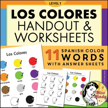 Spanish Colors (Los Colores) Handout and Worksheets for Level 1