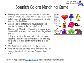 Spanish Colors Matching Game!